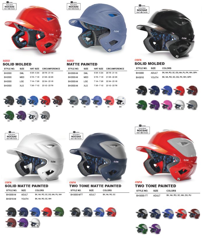 All Star Baseball Helmets